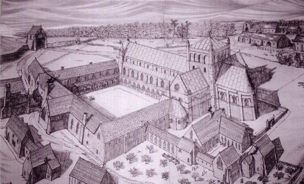 Reconstruction drawing of Garendon Abbey